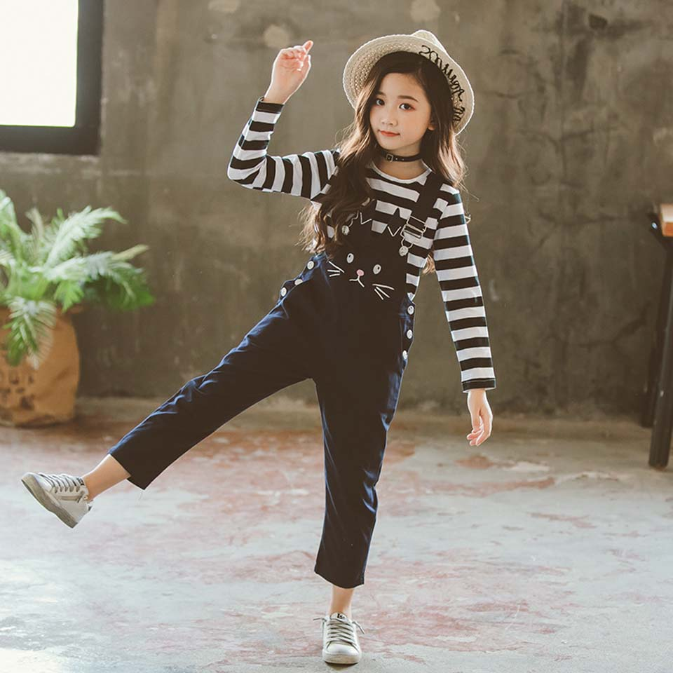 Teenage Girls Clothing Set 2019 Autumn Long Sleeve Korean Stripe T-shirts + Overalls Pant Two Pieces Back To School Outfits
