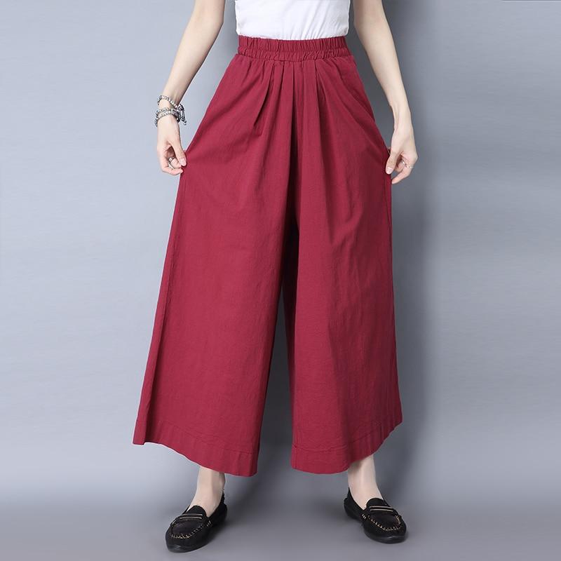 Qiukichonson Ladies Pants Trousers 2019 Spring Summer Vintage Literary Cotton Linen Pants Women Loose Palazzo Wide Leg Pants