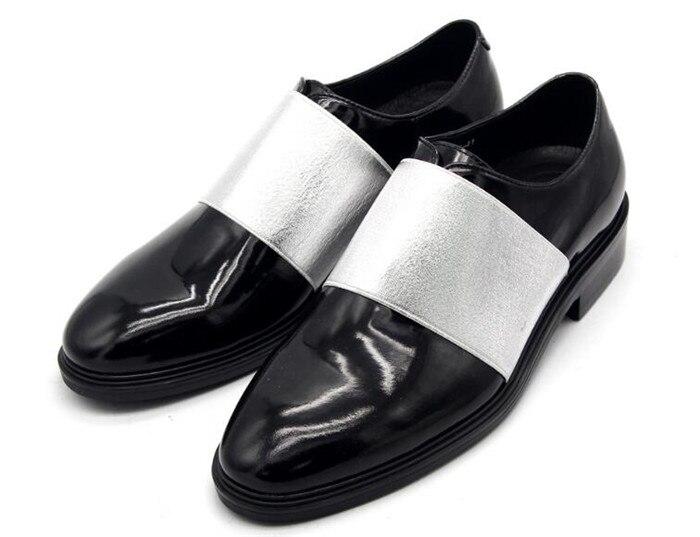 Erhöhte Pic Sommer Beiläufige Schuhe Britischen Einfache Heels Runde Lederne Männer Leder as Chunky Zehe Mode Slip Frühling Patchwork Schwarzes on 4YwqH4d
