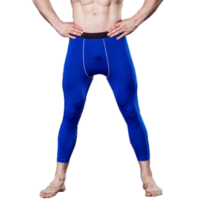 #1050 Men Boys Sports Training Gym Bodybuilding Running Compression Skinny Tights Base Layers Thermal Skins Cropped Pants S-XXL