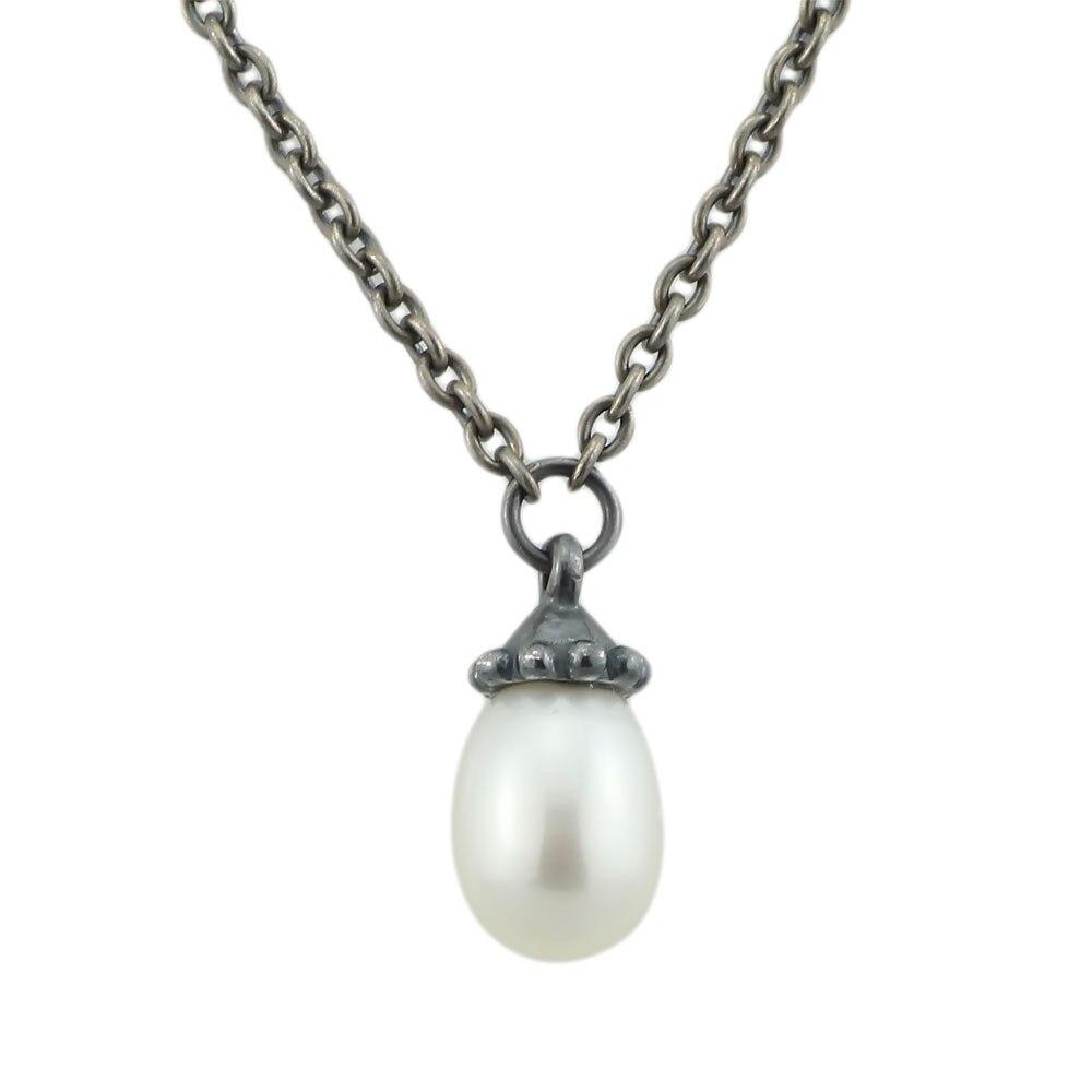 Collier authentique 925 collier fantaisie en argent Sterling avec perle blanche chaîne pendentif Dangle Troll collier femmes bijoux