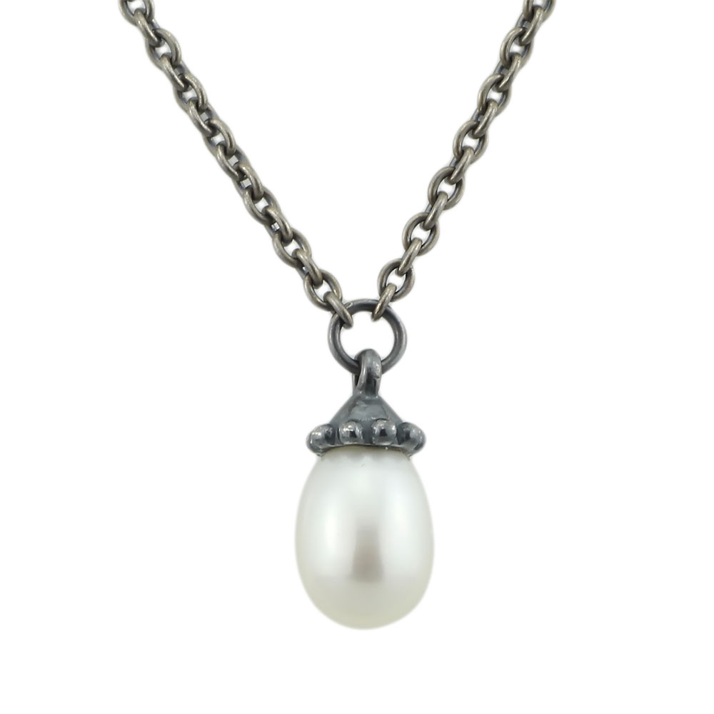 Necklace Authentic 925 Sterling Silver Fantasy Necklace With White Pearl Chain Pendant Dangle Troll Necklace Women Jewelry