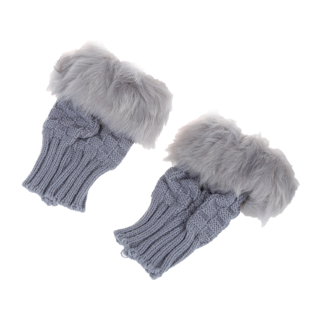 Fashion Women's Wrist Warmer Winter Fingerless Gloves light Grey,White