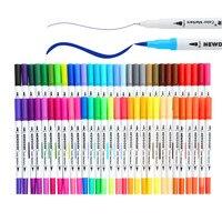 Shuttle Art 60 Colors Dual Tip Brush Pens Art Markers Brush Tip With Fineliner 0 4