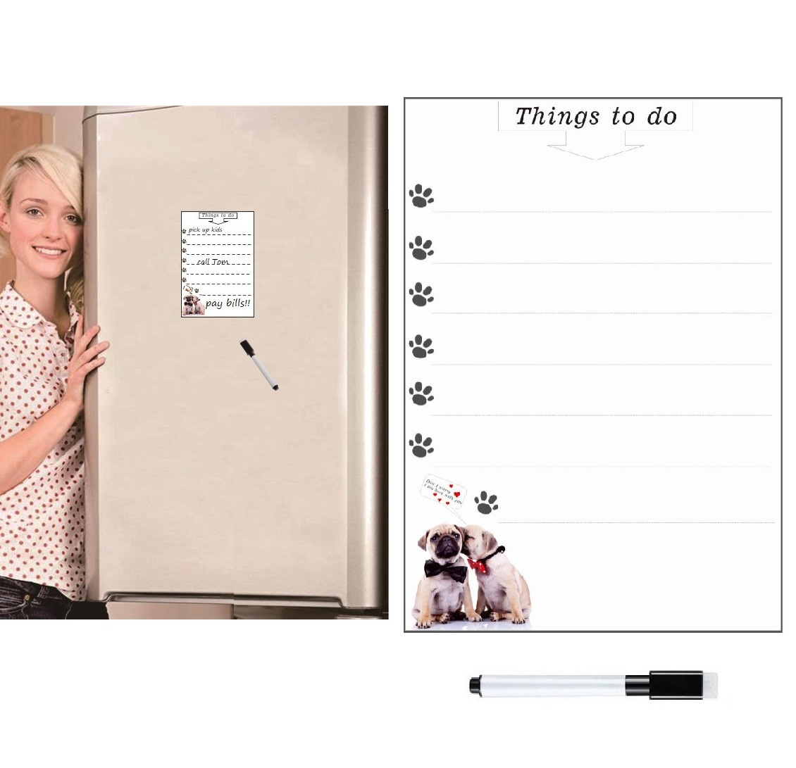 Erasable Magnetic Whiteboard White Board For Fridge Magnet Sticker Weekly Planner To Do List Cute Dog Message Board Marker Pen