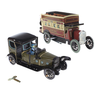 Wind Up Spain Style Saloon+Omnibus Models Clockwork Tin Toy for Kids Fun Toy