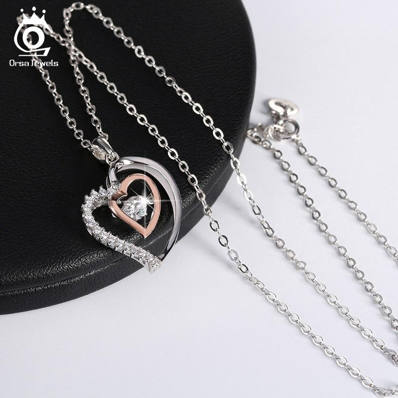 ORSA JEWELS Pravi 925 srebrna dvostruko srce privjesak ogrlica s 0,3 - Modni nakit - Foto 5