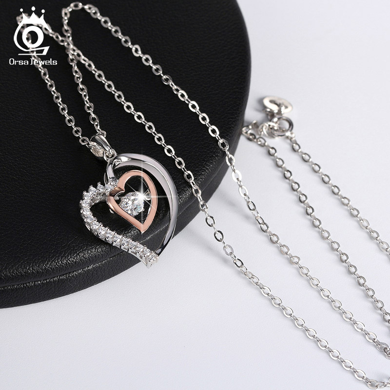 ORSA JEWELS Asli 925 Perak Liontin Jantung Ganda Kalung dengan 0.3 ct - Perhiasan fashion - Foto 5