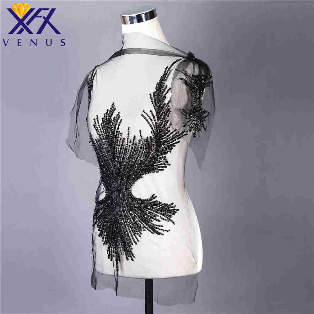 XFX VENUS vestido hecho a mano parche apliques de diamantes de imitación perlas apliques bordado parche de boda para DIY vestido-in Parches from Hogar y Mascotas    2
