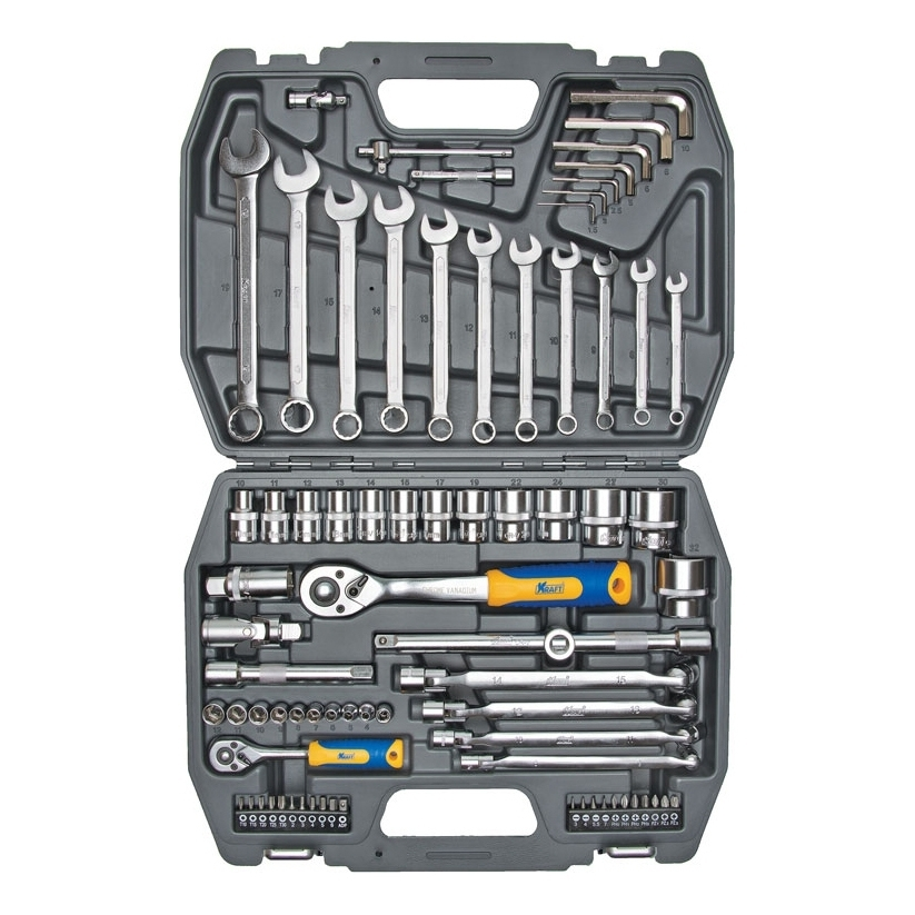 Set hand tool KRAFT CT 700304 (77 items, size range 10-32mm, end head, bits, keys, case) цена в Москве и Питере