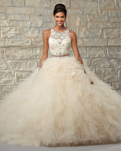 2 Piece Quinceanera Dresses Ball Gowns Off Shoulder Coral Beige Tulle Lace 15 Years With Scarf See Through