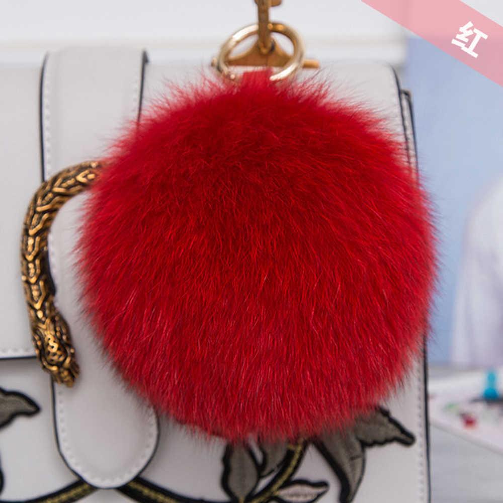 Venda quente na moda 100% real grande pele de raposa pompom bola chaveiro fofo pele de raposa chaveiro 15cm bolsa carro chaveiros pingente decorações