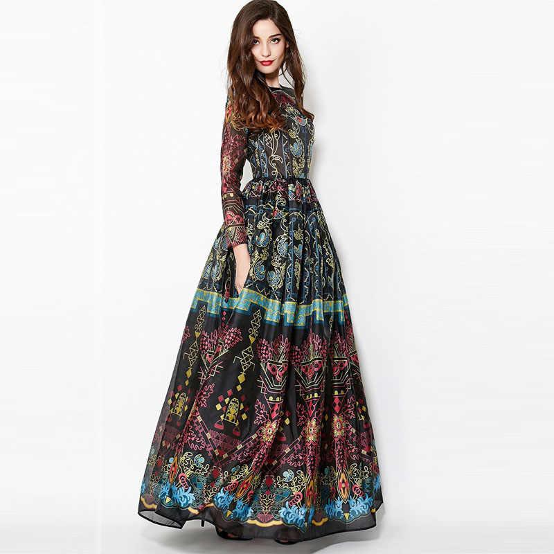 בציר 2018 חורף ארוך שרוולים אלגנטי אימפריה כדור שמלת ההפכפך Slim רטרו הדפסת מקיר לקיר-אורך שמלת נשים מקסי