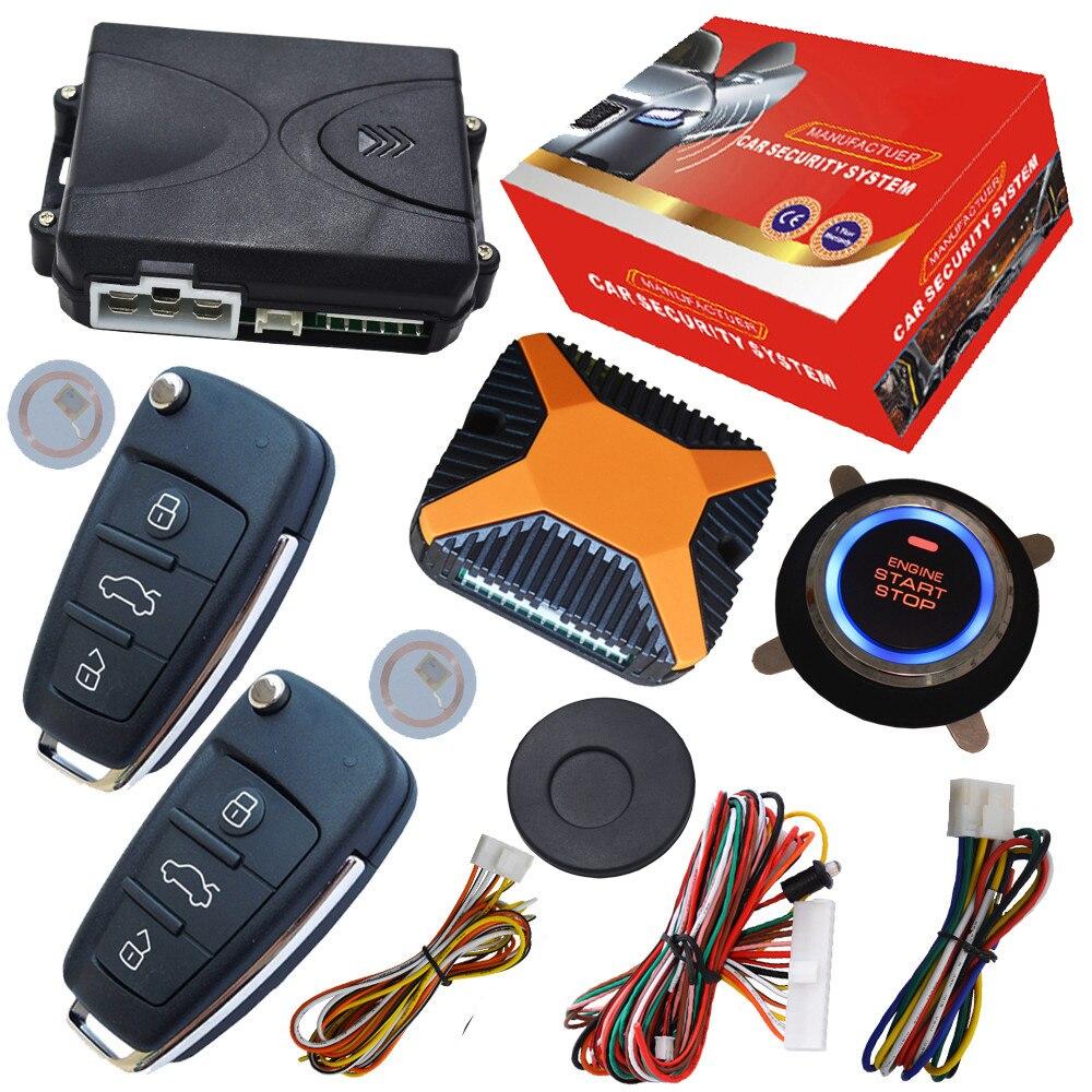 Système de sécurité de voiture automatique bouton d'arrêt de démarrage mince puce transpondeur intégré alarme démarrage à distance arrêt moteur par action de déverrouillage