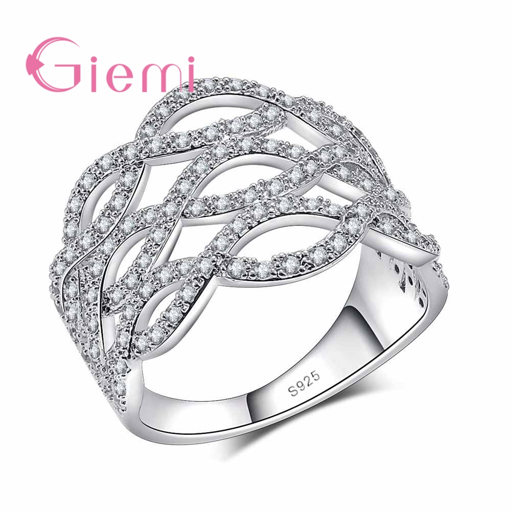 GIEMI Pure 925 Sterling Silver Fashion Cross Jewelry Women/Girls Finger Rings With Full Cubic Zirconia Women Engagement Ring