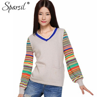 Sparsil Women Winter Autumn Soft V Neck Cashmere Blend Sweater Pullover Casual Lantern Sleeve Knitwear Knitted