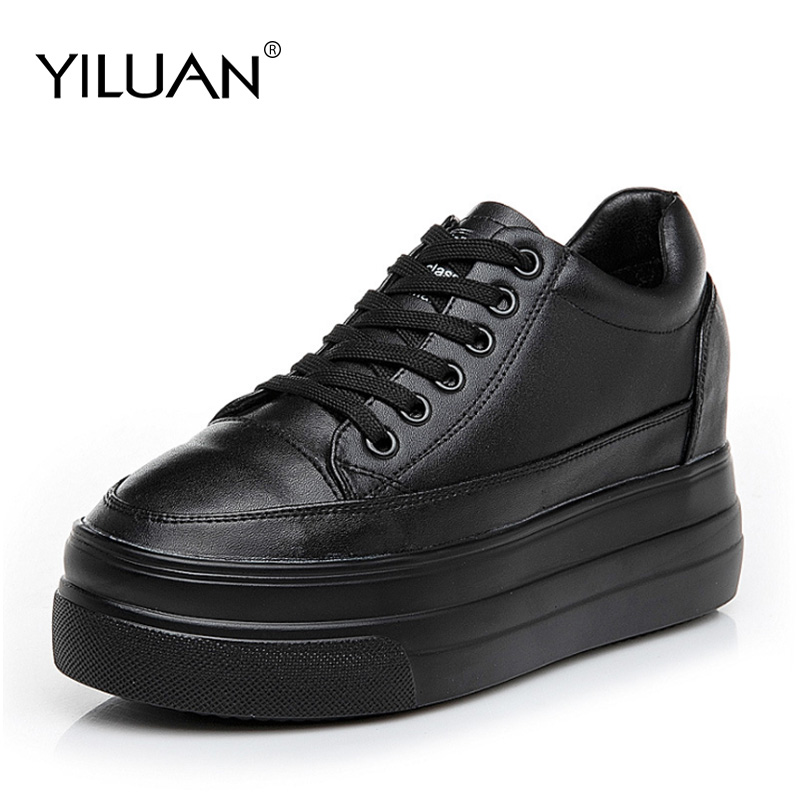 Yiluan Leather increased female shoes muffin bottom casual shoes 2019 autumn new version wild fashion womens shoes sneakersYiluan Leather increased female shoes muffin bottom casual shoes 2019 autumn new version wild fashion womens shoes sneakers