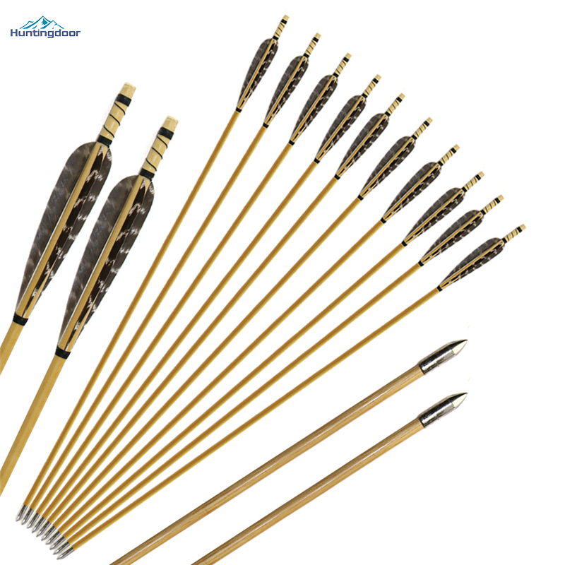 6/12/24pcs 31.5inch  8.5mm Archery Wood Arrows Turkey Feathers Handmake Wooden Arrow For Recurve Bow Traditional Longbow Hunting