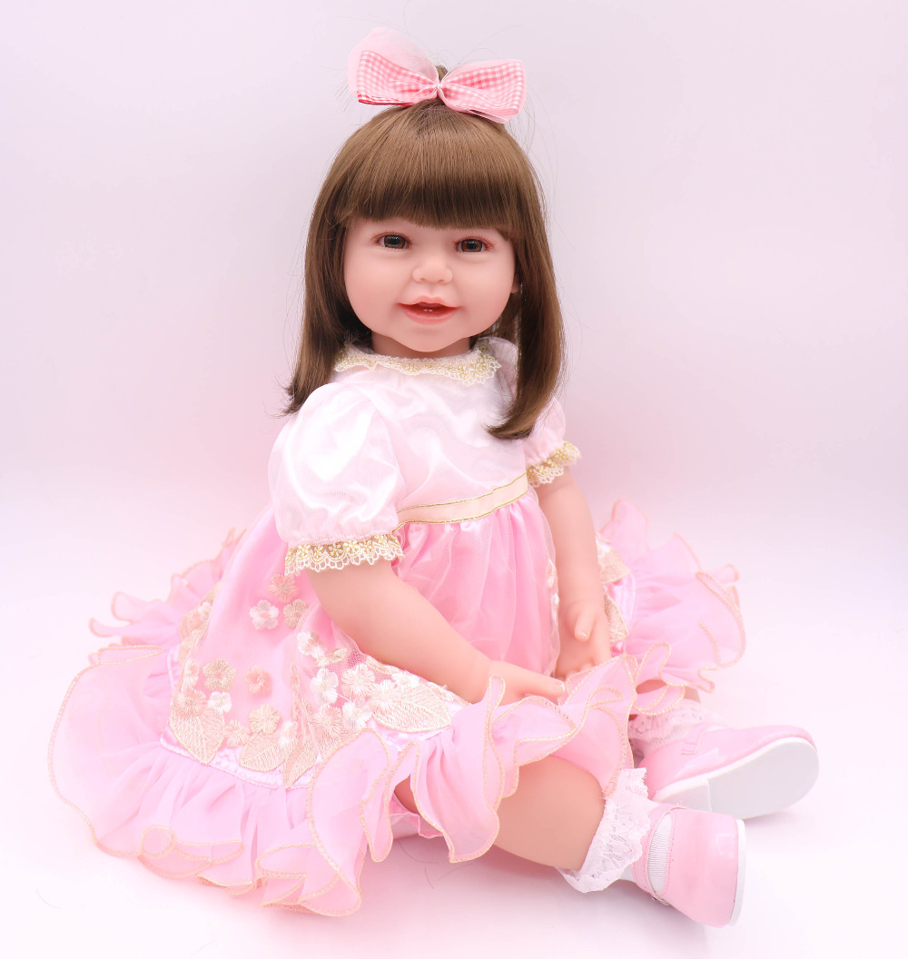 61 cm kawaii princess Silicone Reborn Doll Toddler Doll kit reborn 24 inch Baby girl toys for girls free shipping puppe mini ...