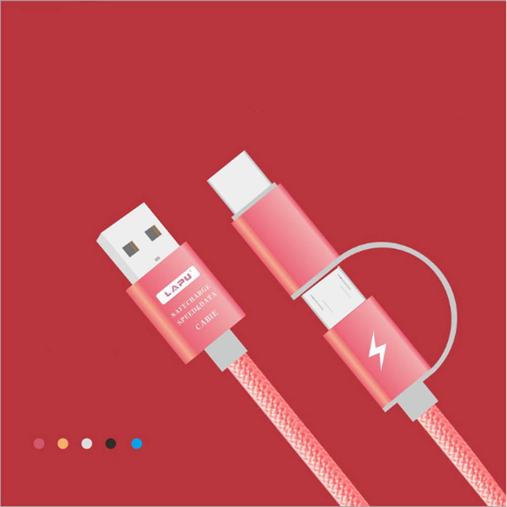 2 in 1 Fast Charging Date Cable Micro USB Cable 1M for Xiaomi/Huawei for Android for iph