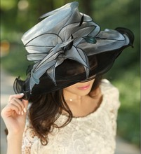 Women Ladies Organza Hat Derby Church Wedding Beach Cocktail Evening Party Summer Sun Cap Vintage Dress