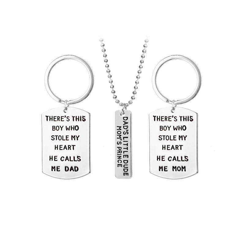 3 Pcs Mother Father Baby Boy Necklace & Keychain Mom Dad Son