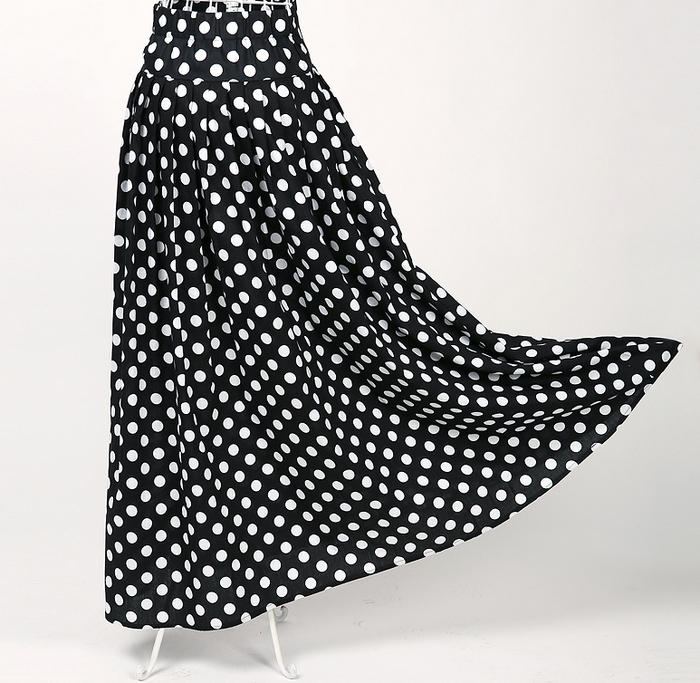 Long Black and White Polka Dot Skirt Promotion-Shop for ...