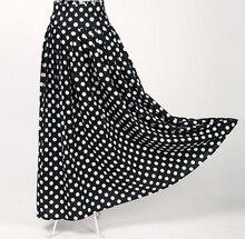black white polka dot cotton high waist skirts long large sizes femme jupe bohemian gypsy patterns maxi skirt retro brand jupe