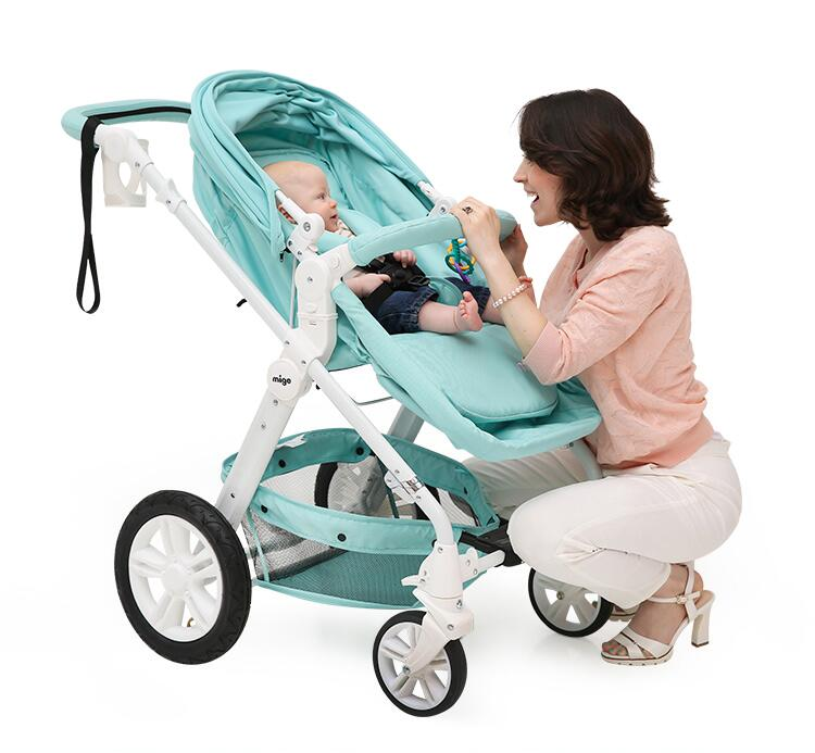Baby stroller Baby Trolley high landscape baby stroller can be a portable inflatable wheel baby sitting and lying four wheel stroller ultra portable pu leather umbrella car bb baby stroller capable of sitting and lying trolley suspension