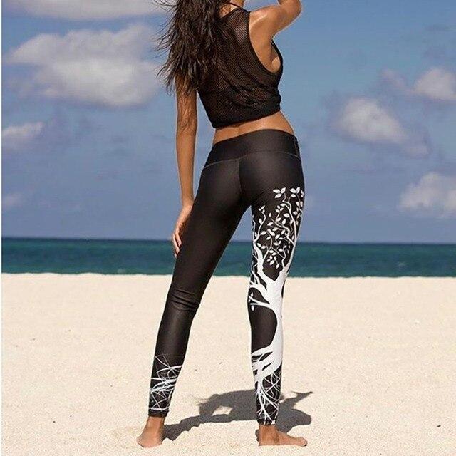 패션 피트 니스 인쇄 레깅스 여성 높은 허리 레깅스를 밀어 3d 디지털 트리 인쇄 슬림 폴리 에스터 하라주쿠 legging XS XL