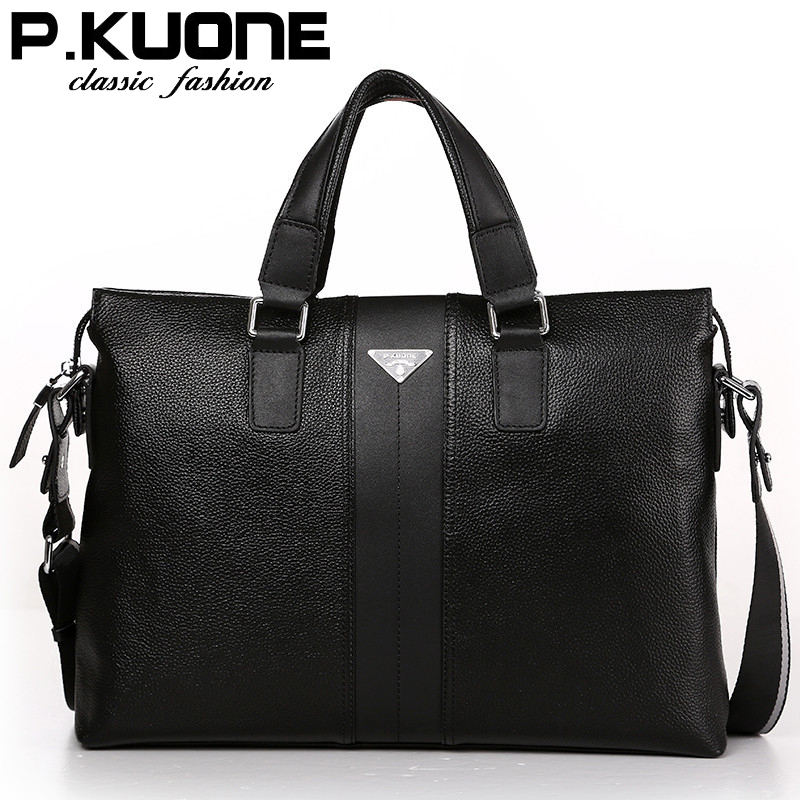 P.kuone fashion luxury brand men bag genuine leather handbag shoulder bags business men messenger bag laptop bag image