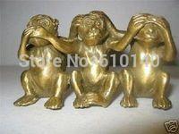 Kolekcje Mosiądz Zobaczyć Mówić Hear No Evil 3 Małpa Małe Rzeźby w Posągi i rzeźby od Dom i ogród na