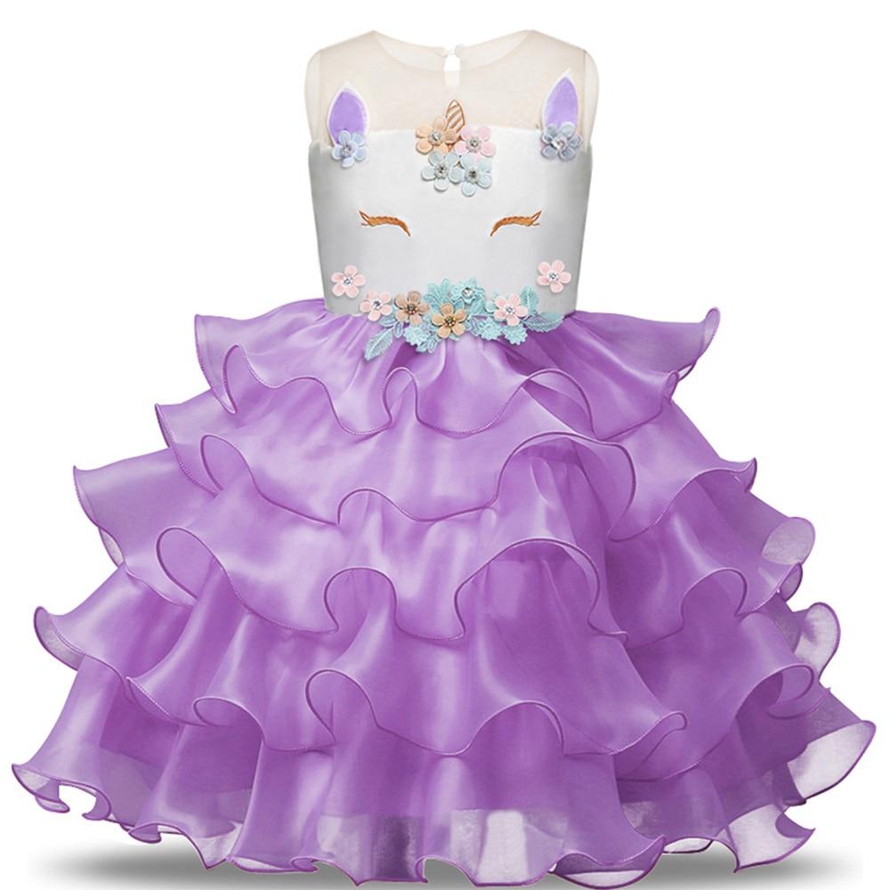 Girl Rainbow Unicorn Dress Pastel Princess Dance Wear Gymnastic Leotard Teen Ballet Tutu Dress Halloween Christmas Custome 1-6Y