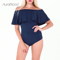 AuraPicco Women Off Shoulder Ruffled One Piece Swimsuit Sexy Solid Color Female Ruffle Bodysuit Bathing Suit