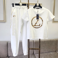 Women Tracksuit 2 Piece Sets Womens Outfits Gold Thread Embroidered Sequins Casual Sports Suit Short Pants Two Piece Sets