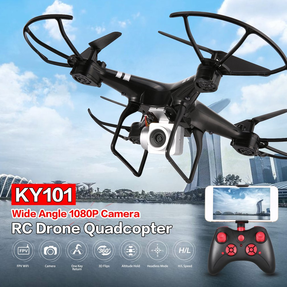 KY101 WiFi FPV Wide Angle 1080P Camera Selfie RC Drone Altitude Hold Headless Mode 3D Flip