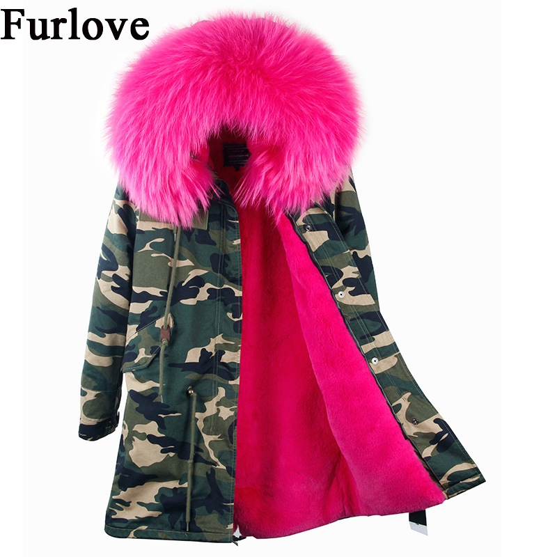Womens Winter Jacket Women Coat Jackets Real Raccoon Fur Collar Coats Camouflage Black Thick Long Parka Fashion Vintage Parkas 2017 winter new clothes to overcome the coat of women in the long reed rabbit hair fur fur coat fox raccoon fur collar
