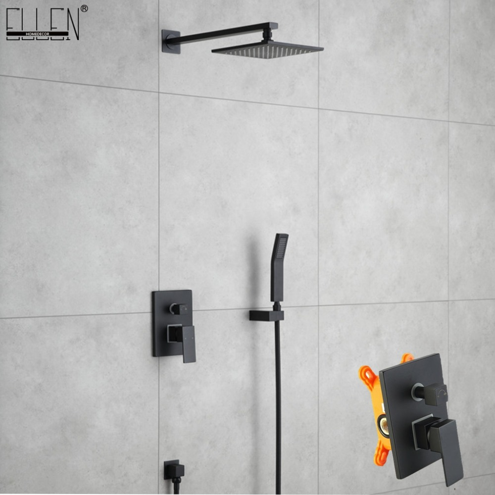 Brass Black in Wall Shower Set Rainfall Bathroom Shower Faucet Ceiling Wall Shower Hot and Cold Mixer Handheld Spray Sets EG3402Brass Black in Wall Shower Set Rainfall Bathroom Shower Faucet Ceiling Wall Shower Hot and Cold Mixer Handheld Spray Sets EG3402