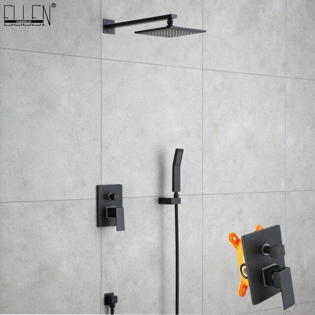 À bas prix Laiton noir dans le mur ensemble de douche pluie salle ...