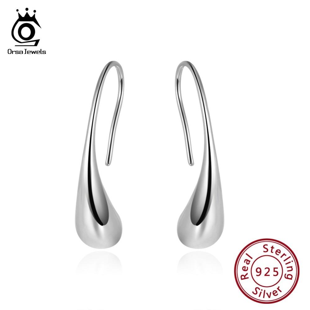 ORSA JEWELS Authentic 925 Women Irregular Drop Earrings Sterling Silver Top Quality Simple Female Earrings Fashion Jewelry SE144