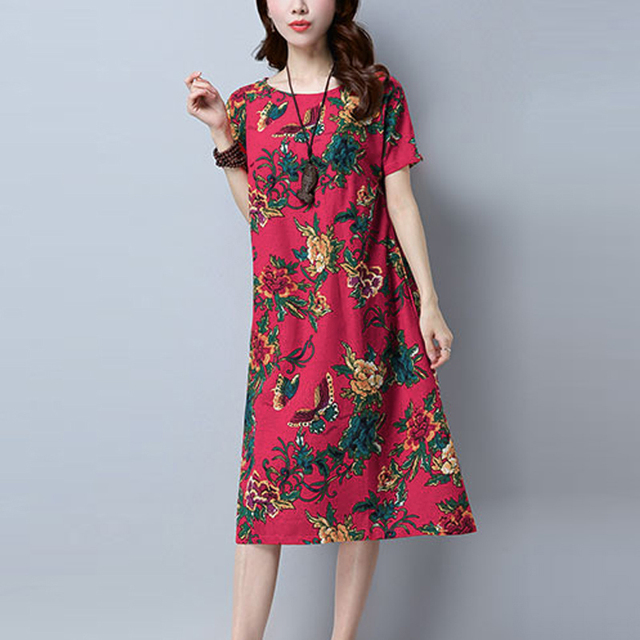 7dfb77a55e706 Plus Size 5XL Summer Dresses Women Short Sleeve Cotton Floral Printed  Elegant Party Dress Casual Loose Round Neck Bodycon Dress