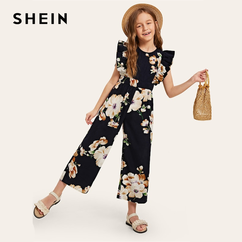 Image 3 - SHEIN Kiddie Floral Print Wide Leg Holiday Girls Jumpsuit 2019 Summer Cap Sleeve Ruffle Boho Beach Teenager Long Jumpsuits-in Overalls from Mother & Kids