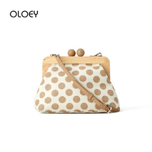 Canvas Women's Shoulder Bag Dot Wooden Clip Bags for Women Retro Crossbody Bags Travel Clutch Purse Handbags Female Bolsa Mujer