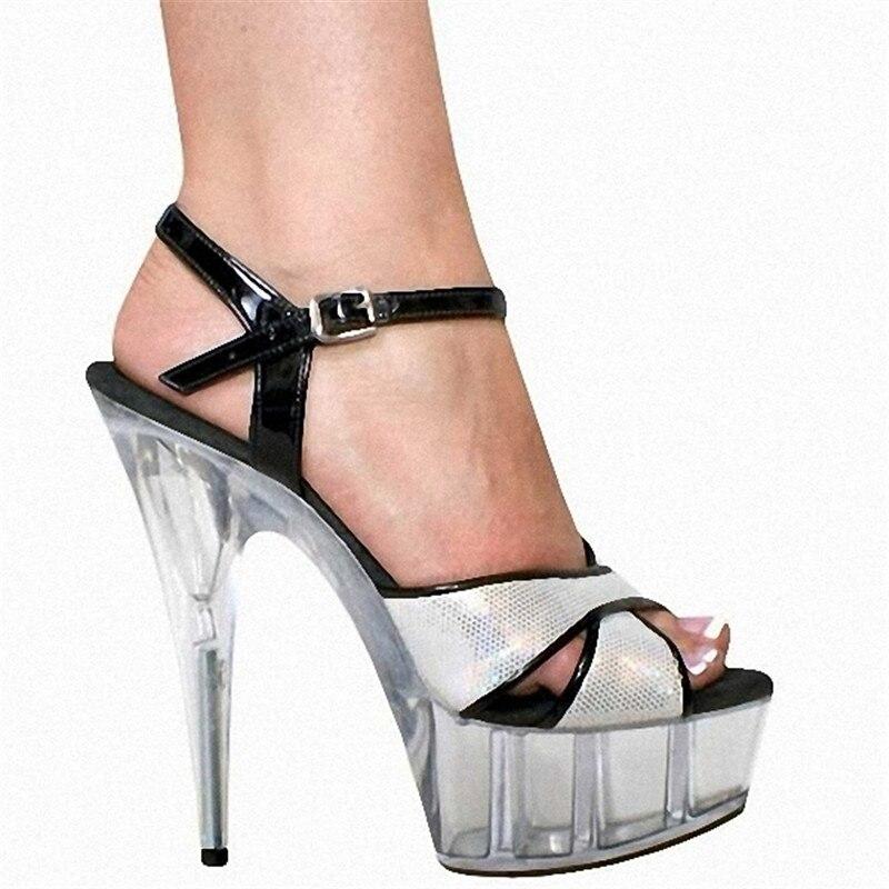 Cm Pouce 6 Hauts forme 15 Argent Plate Mode Magnifique Talons Sandales Dame Glitter Danse De Chaussures Cristal nq0AxTa8
