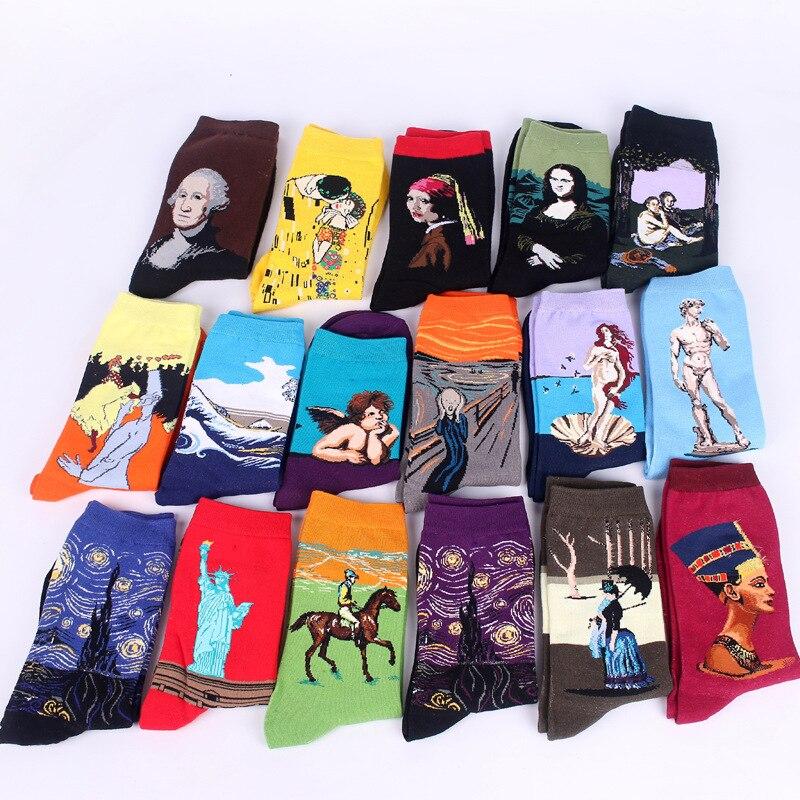 1pairs/lot Vinci Cotton Casual Grew Fashion Amazing Print Art   Socks   Women Men Cotton Harajuku Style Famous Gogh Mona Cotton New