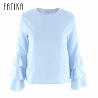 FATIKA Women S Tops And Blouses Autumn 2017 O Neck Butterfly Sleeve Fashion Blouse Top For