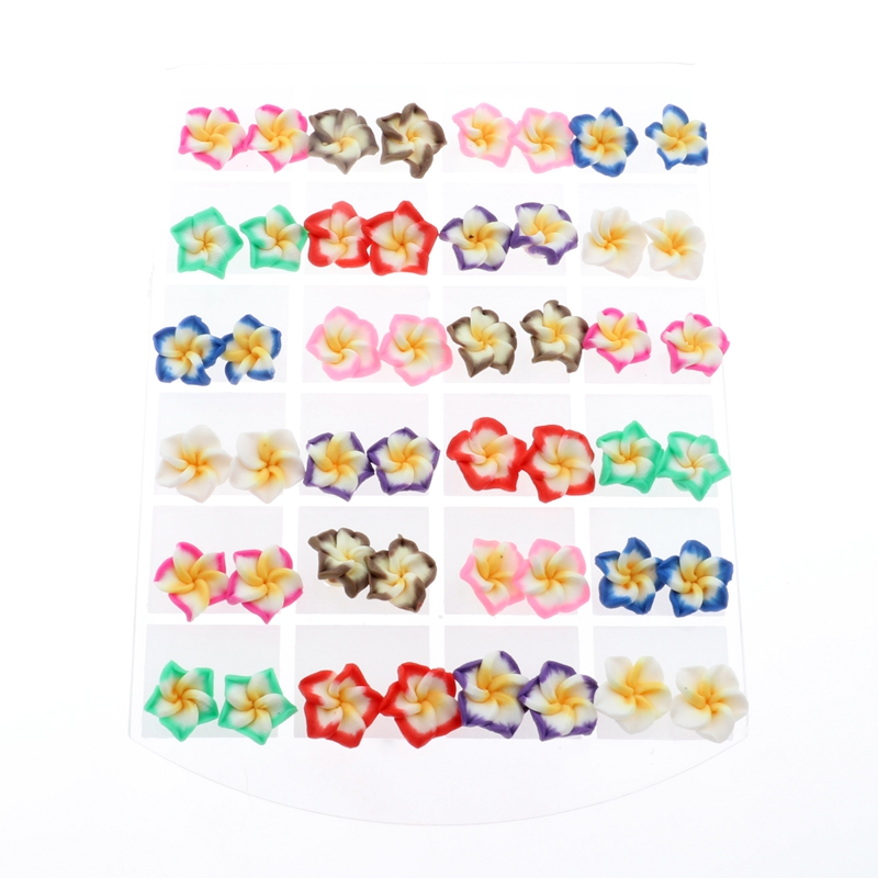 DOUVEI 24 Pairs Hot Promociones Wholesale 24 Pair Multi-Color Hawaiian Frangipani Children Flower Stud Earrings For Party