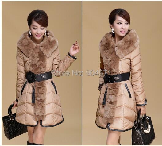 Chaqueta nueva Moda de Invierno Mujeres Warm Coat Hoodie Patchwork Fajas Gran Mapache De Piel Sintética Outwear Largo de Down Parka
