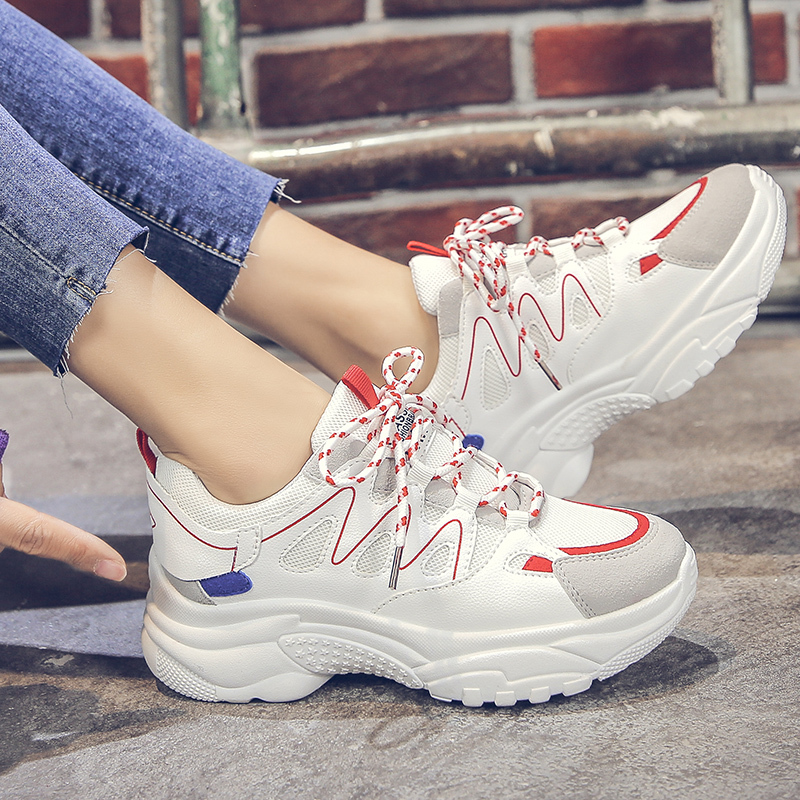 HEFLASHOR 2019 Women Vulcanized Shoes Flat Spring Sneakers Shoes Female Mesh Lace-up Ladies Fashion Casual Breathable Soft Shoes