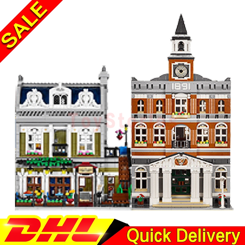 Lepin 15003 town hall + Lepin 15010 Parisian Restaurant City Street Model Building Blocks Bricks legoings Toys Clone 10224 10243 new lepin 15003 2859pcs the topwn hall model building blocks kid toys kits compatible with 10224 educational children day gift